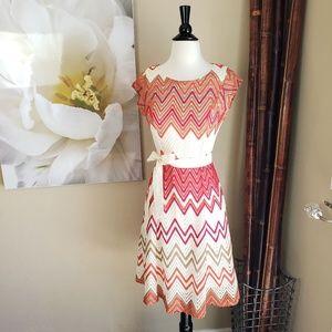 Sharagano ~ Pink&Orange Chevron Crochet Dr…